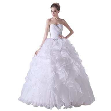 78d3210deb4 Lava-ring Women s White Organza Formal Long Crystal Ruffle Quinceanera Dress  Prom Gown US2