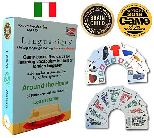 Linguacious Award-Winning Around The Home Italian Flashcard Game - with Audio!