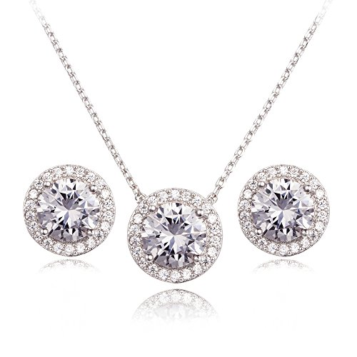 Round Necklace Earring Set - CC&La Dame Cubic Zirconia Round Halo Stud Earrings and Pendant Necklace Jewelry Set (White Gold)