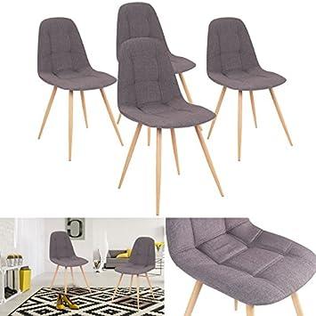 IDMarket - Chaises X4 VERANE capitonnées tissu gris pour salle à ...