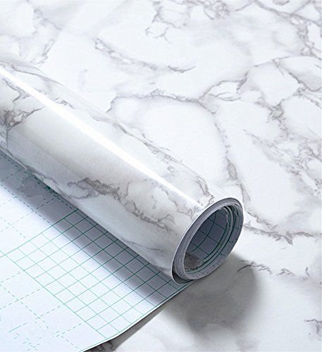 Grey Marble Look Contact Paper Gloss Film Vinyl Self Adhesive Backing Granite Shelf Liner Peel and Stick Wall Decal for Covering Counter Top Kitchen Cabinet (24''x79'') (Kitchen Cabinet Faux Drawer compare prices)