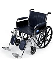 Medline Excel Extra-Wide Elevating Wheelchairs, Full Arm, 20-Inch