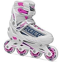 Roces 400811 Women's Model Jokey 1.0 Adjustable Inline Skate, US 2.5-4.5, White/Purple/Pink