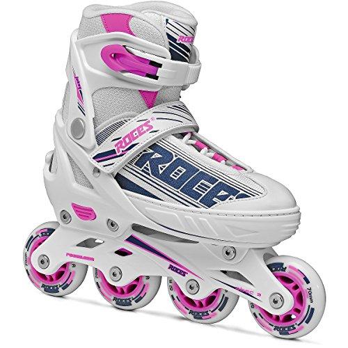 ランデブー甘味ショットRoces 400811レディースモデルJokey 1.0調節可能インラインスケート、US 2.5 – 4.5、ホワイト/パープル/ピンク