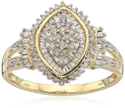 Jewelili 10kt Yellow Gold Diamond Cocktail Cluster Ring (1/2 cttw), Size 9