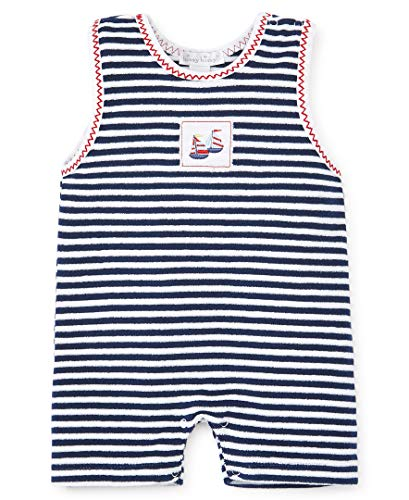 Kissy Kissy Baby-Boys Infant Summer Sails Terrycloth Sleeveless Stripe Short Playsuit-White with Navy-12-18 Months