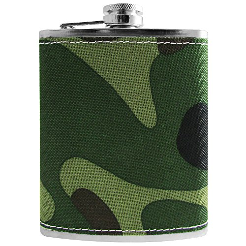 Flask Stainless Steel 8 oz Army Camo Grip Whiskey Flask - Spirit Hip Flask 8 oz Unique Novelty - Combat Accessory Camouflage ()