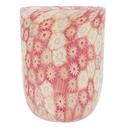 GlassOfVenice Murano Glass Tumbler - Rose Gold Millefiori (Millefiori Rose)