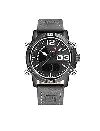 Unique Men's Business Casual Stylish High-Grade Watches Sport Black Dial Comfortable Strap Luminous Hands Analog-Digital Decent Watch