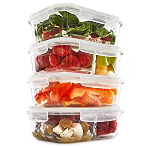 1 & 2 Compartment Glass Meal Prep Containers (4 Pack, 35) - Glass Lunch Containers | Food Storage Containers with Lids | Glass Tupperware Set | Food Prep Containers | Bento Box | Portion Control