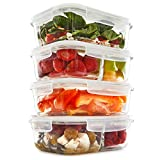 microwave reheat containers - 1 & 2 Compartment Glass Meal Prep Containers (4 Pack, 35) - Glass Lunch Containers | Food Storage Containers with Lids | Glass Tupperware Set | Food Prep Containers | Bento Box | Portion Control
