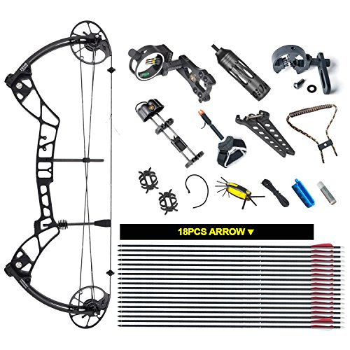 """TOPOINT ARCHERY Compound Bow Package TS330,25""""-31"""" Draw Length,30-70Lbs Draw Weight,330fps IBO (BLACK)"""