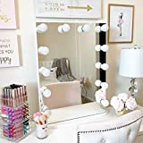 white makeup vanity with glass top Organizta Hollywood Mirror - Dimmer Series (White, Portrait with Touch Dimmer)