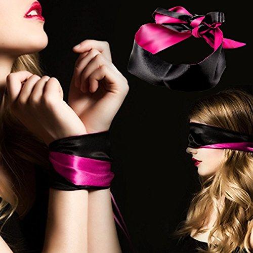 "Blindfold for games 5 pack; Satin Blindfold Sleep Mask handcuffs set super Soft & Comfortable for sleeping; Best Eye Cover Night Blinder block light for Women Men-59"" by KUCEMO (Image #4)"