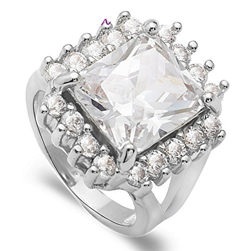 PSRINGS Big Square Crystal Wedding Rings Top Show Evening Party Rings 8.0