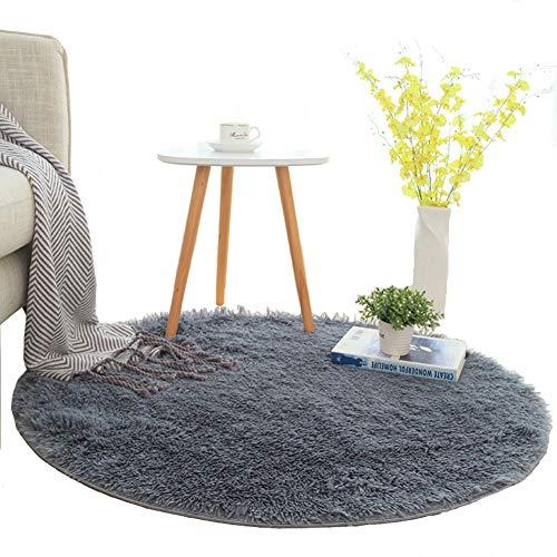 Lyfreen Ultra Soft Round Shaggy Area Rug Living Room Carpet 4CM Floor Rug Thicken Children Rugs Room Mat Modern Solid Carpet Diameter:5.24 Feet (160cm,Silver-Grey)