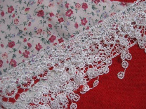 Flirtschal .. Trachten Tuch Stola Dreieckstuch mit Blumen Rosen Muster Spitze Häkelborde rot-02