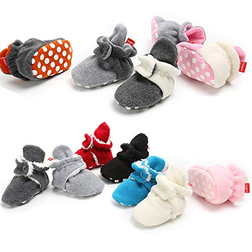 Isbasic Unisex Baby Cozie Fleece Lined Booties Non-Slip Soft Sole Infant Winter Warm Socks Shoes