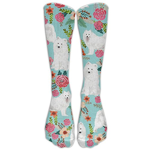 Samoyed Dogs Floral Dog Unisex Compression Socks For Running, Nurses, Shin Splints, Travel, Flight, Pregnancy & Maternity.