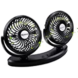 Mystery 5V 2A USB Fan, 360° Rotatable Dual Head Car Fan Adjustable 3 Speeds Electric Dashboard Desk Auto Fan for Vehicle Truck Home Office