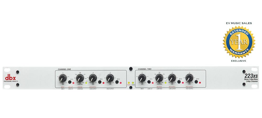 dbx 223xs Stereo 2-Way/Mono 3-Way Crossover with XLR Connectors and 1 Year Free Extended Warranty