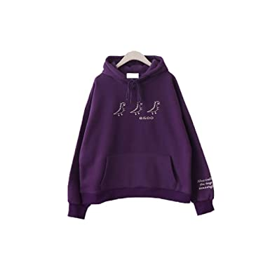 ba33a987b Dinosaur Hoodies Winter Japanese Plus Velvet Loose Embroidered Hooded  Pullover Women (Dark Purple): Amazon.co.uk: Clothing