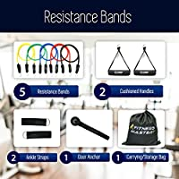 Resistance Bands - Tension Band Set for Weights Exercise, Fitness Workout - Heavy Anti Snap Resistant - Comes with Door Anchor Attachment, Legs, Ankle Straps and Carry Case from L&G Enterprise