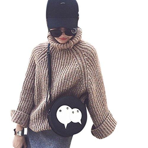 LHWY Moda Mujer Bolso de Cuero Cruzada Cuerpo Circular de Hombro Messenger Bolso de la Moneda Negro