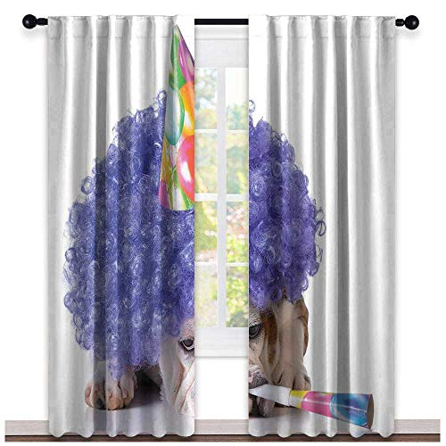 hengshu Kids Birthday, Curtains, Boxer Dog Animal with Purple Wig with Colorful Party Cone Funny Photo Print, Curtains Nursery, W72 x L96 Inch Multicolor