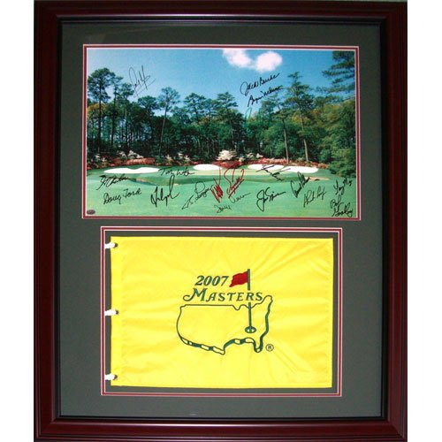 Masters Champions (20 Signatures) Autographed Augusta National Print Deluxe Framed with Masters Flag