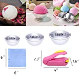 Bath Bomb Mold, Outgeek 3 Size 3 Set DIY Metal Bath Bomb Molds with Mini Sealer, 100 PCS Shrink Wrap Bags, for Crafting Your Own Fizzles, bath bomb mold making, Handmade Soaps