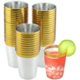 NYHI Elegant Gold Rimmed Clear Hard Plastic Cups (50 Pack) 10-Ounce Break Resistant Disposable Wine Tumblers | Premium Wedding Party Bar Supplies & Dessert Cups | Stunning Drinking Cups for Any Event