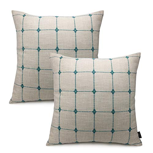 (Booque Valley Plaid Pillow Covers 20 x 20 inch, Pack of 2 Soft Polylinen Woven Texture Cushion Covers, Hand Made Check Pillow Cases for Sofa Bed Car)