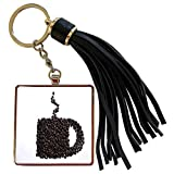 3dRose Florene Food And Beverage - Image of Funny Coffee Cup Made Of Coffee Beans - Tassel Key Chain (tkc_243766_1)