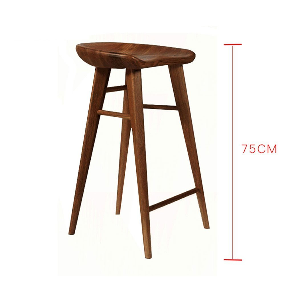 B H 55CM HQCC Solid Wood bar Chair Dining Chair Home Nordic Wood bar stools Simple Casual high stools Front Desk Chair (color   B, Size   H 55CM)