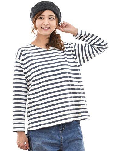 (クラウドナイン) cloudnine プルオーバー カットソー ボーダー tシャツ 長袖 クルーネック ドロップショルダー 裾ボタン nn-ncs9087