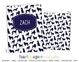 Blue Dog Puppy 2 Pocket Folder Gift Name Back to School Supplies Teacher Office Birthday Girl Kids Custom Personalized Custom