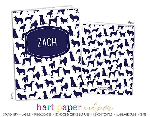 Blue Dog Puppy 2 Pocket Folder Gift Name Back to School Supplies Teacher Office Birthday Girl Kids Custom Personalized Custom by Hart Paper