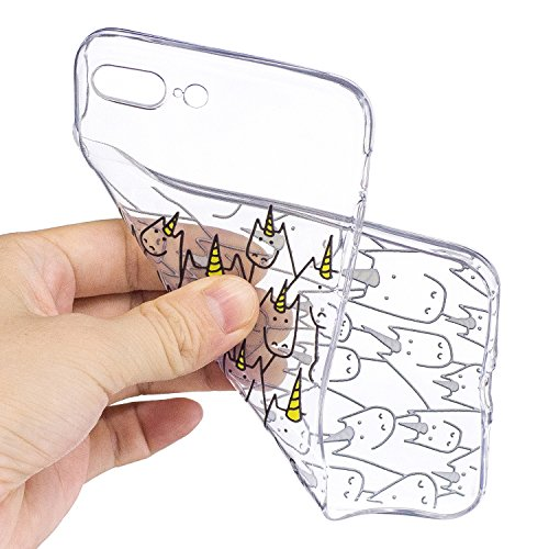 iPhone 8 Plus Hülle Nettes Einhorn Premium Handy Tasche Schutz Transparent Schale Für Apple iPhone 8 Plus + Zwei Geschenk