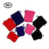 Wuligirl 80 PCS Velvet Cloth Drawstring Tarot Rune Bags Gaming Dice Gift Crystals and Jewelry Pouches Wholesale (80PCS, 3.54x4.72