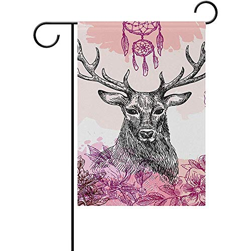 Hand Painted Moose - Starotor Home Decorative Flags 12 x 18 Inch for Outside Double Sided Welcome Garden Flag with Novelty Graphic Hand Painted Black Moose for Yard Flags Outdoor Flags