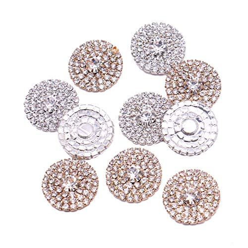 JETEHO 20mm Gold&Silver Round Rhinestone Embellishment Button Flatback DIY Accessories Buttons for Wedding/Birthday/Baby Shower/Anniversary Events Sewing Craft, 10pcs (Silver Round Button)