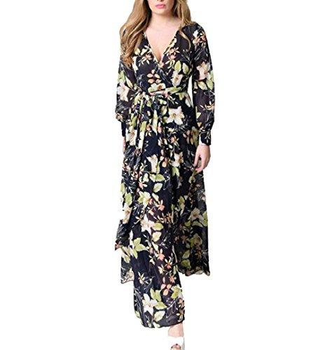 97d1f6c24035 Chiffon Kleid Maxi Langarm ZEZKT Damen Sommer Blumen V-Ausschnitt Strand  Kleid Chiffon A ctomE8