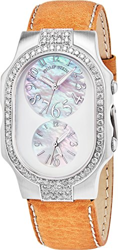 Philip Stein Women 'Signature' Mother of Pearl Dial Green Leather Strap Dual Time Swiss Quartz Watch 2DD-FFSMOP-SBGR