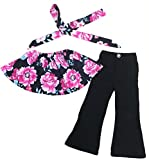 UNIQUEONE 3pcs Baby Girls Off Shoulder Floral Print Tops+Bootcut Pants+Headband Outfit Set Size 3-4Years/Tag100 (Red)