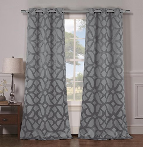 Heavy Insulated Stone Look Energy Saving Blackout Window Grommet Top Curtains 38 inch Wide by 84 Long (Assorted Colors) Set of 2 Panel Room Darkening Drapes - Grey