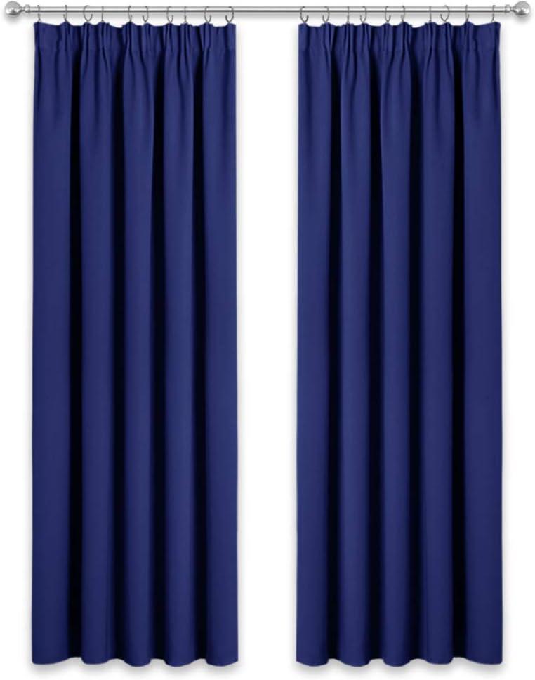 PONY DANCE Cortinas de Salon Opacas - Cortinas Azules Fruncidas Termicas Aislantes Frio Calor/Decoracion de Interiores para Ventana Puerta, Dos Piezas, 167 x 228 CM (An x L)