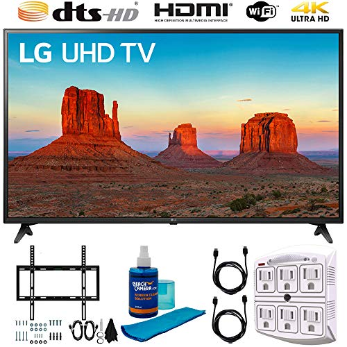 LG 60UK6090 60″ 4K HDR Smart LED UHD TV w HDR (2018) (LG60UK6090PUA 60UK6090PUA 60UK6090P) + Flat Wall Mount Kit, 2X 6 High Speed HDMI Cable, 6-Outlet Surge Adapter, Night Light & Screen Cleaner
