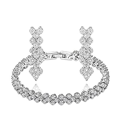 TIDOO Jewelry Fashion Womens Platinum Plated Frozen Flowers Bracelet Earring Jewelry Sets With Austrian Crystal And Cubic Zicons 100% Man-made Trendy Elegance ,Best Gift For Mother's Day Lover Party Wedding Anniversary Engagement Valentine's Day And Chris