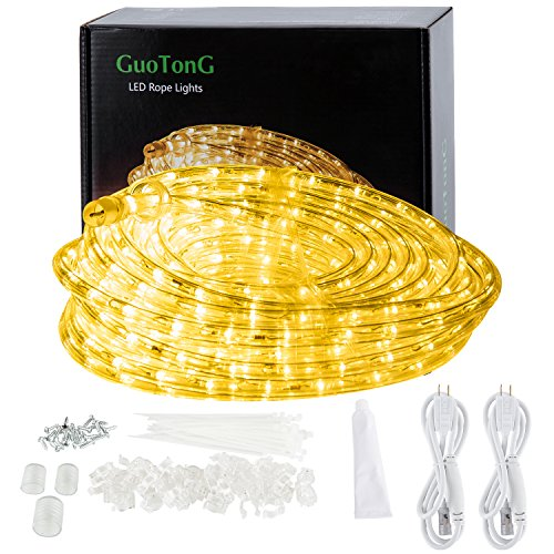 GuoTonG 50ft/15m Plugin Rope Lights, 540 Warm White